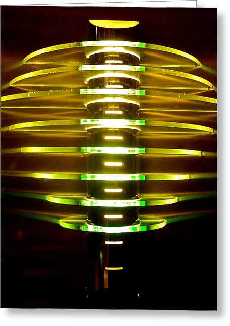 Kirsten Giving Greeting Cards - Green and Yellow Light Reflectors Greeting Card by Kirsten Giving