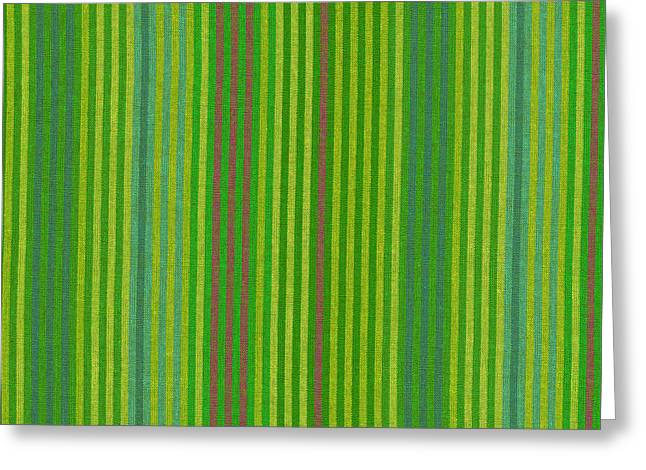 Textile Greeting Cards - Green And Yellow Striped Textile Background Greeting Card by Keith Webber Jr