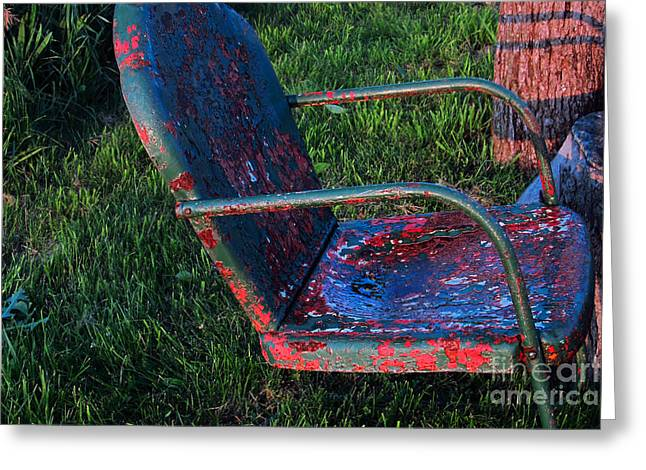Green Antique Lawn Chair In The Garden Greeting Card by Tina M Wenger