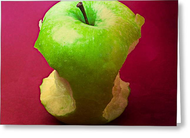 Harvest Deco Photographs Greeting Cards - Green Apple Core 2 Greeting Card by Alexander Senin