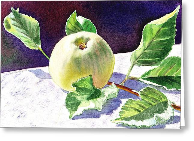 Green Apples Greeting Cards - Green Apple Greeting Card by Irina Sztukowski