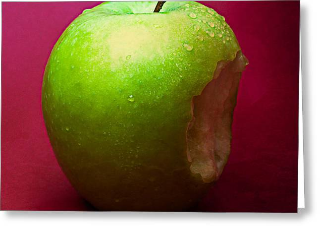 Harvest Deco Photographs Greeting Cards - Green Apple Nibbled 1 Greeting Card by Alexander Senin
