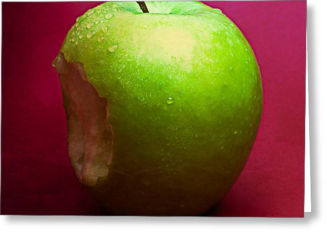 Harvest Deco Photographs Greeting Cards - Green Apple Nibbled 2 Greeting Card by Alexander Senin