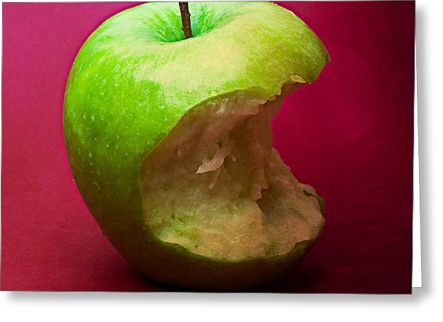 Harvest Deco Photographs Greeting Cards - Green Apple Nibbled 5 Greeting Card by Alexander Senin