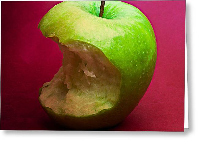 Harvest Deco Photographs Greeting Cards - Green Apple Nibbled 6 Greeting Card by Alexander Senin