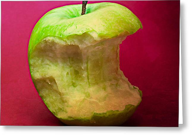 Harvest Deco Photographs Greeting Cards - Green Apple Nibbled 7 Greeting Card by Alexander Senin