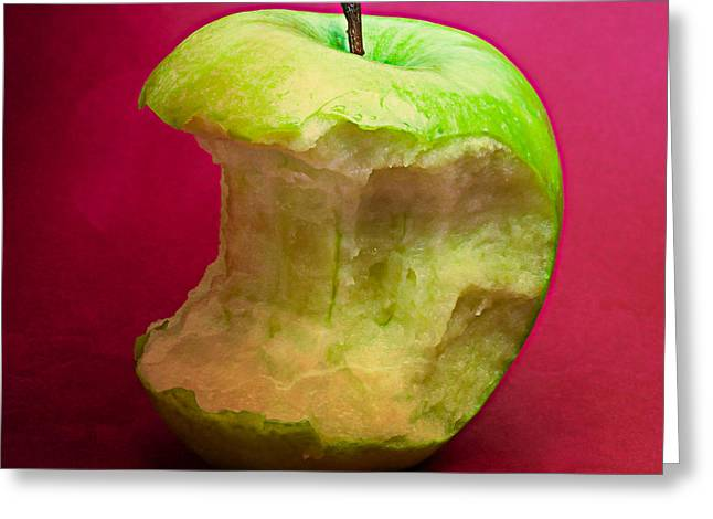 Harvest Deco Photographs Greeting Cards - Green Apple Nibbled 8 Greeting Card by Alexander Senin