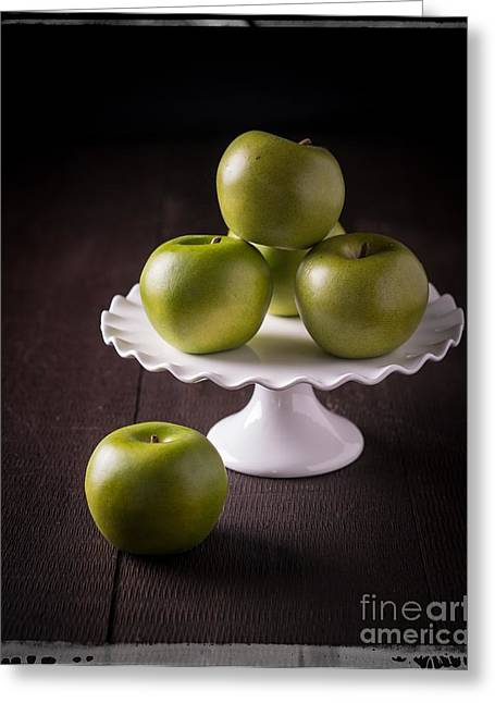 Green Fruit Greeting Cards - Green Apple Still Life Greeting Card by Edward Fielding