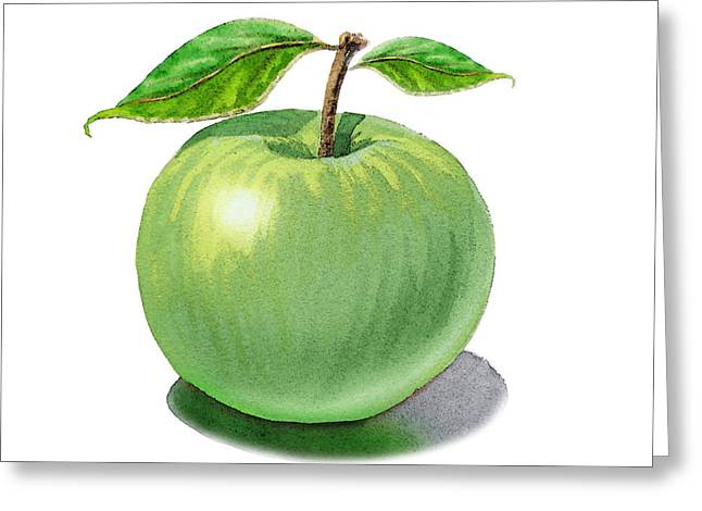 Gift From Nature Greeting Cards - Green Apple Still Life Greeting Card by Irina Sztukowski