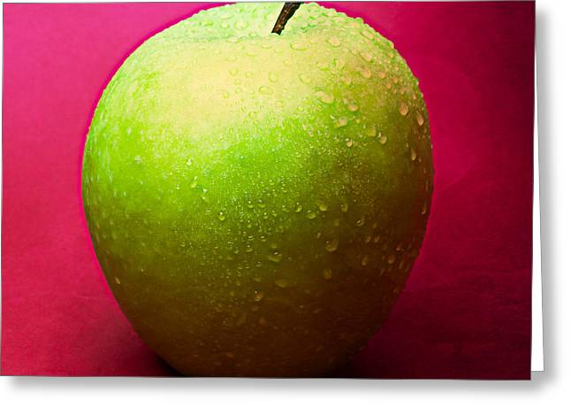 Harvest Deco Photographs Greeting Cards - Green Apple Whole 1 Greeting Card by Alexander Senin