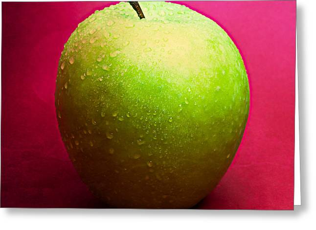 Harvest Deco Photographs Greeting Cards - Green Apple Whole 2 Greeting Card by Alexander Senin