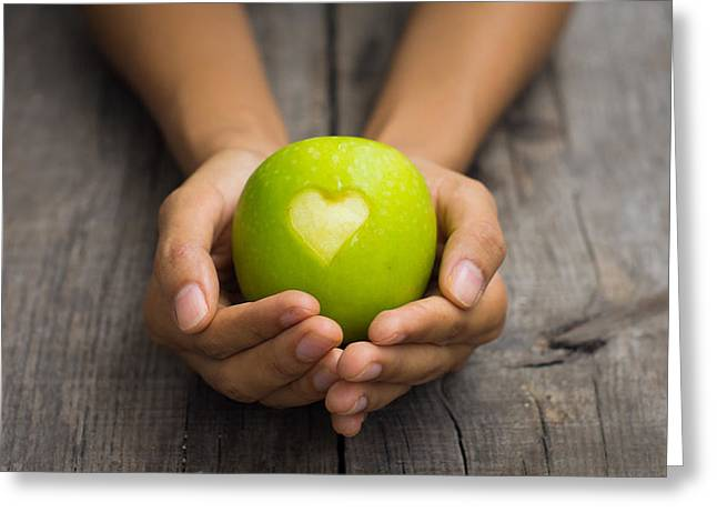 Lifestyle Greeting Cards - Green Apple with engraved heart Greeting Card by Aged Pixel