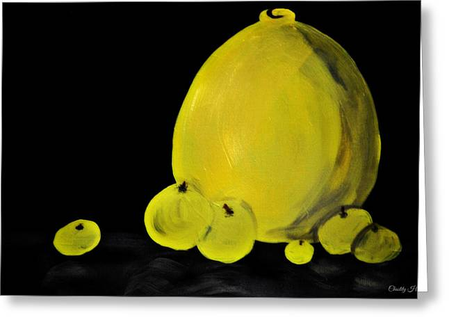 Shadows On Apples Greeting Cards - Green Apples and a Vase Still Greeting Card by Chastity Hoff
