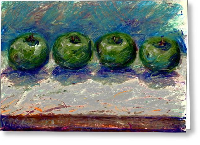 Apple Pastels Greeting Cards - Green Apples Greeting Card by Barbara Morello