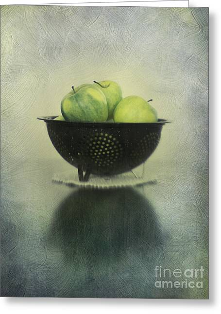 Food Still Life Greeting Cards - Green apples in an old enamel colander Greeting Card by Priska Wettstein