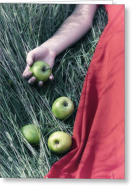 Lady Fingers Greeting Cards - Green Apples Greeting Card by Joana Kruse