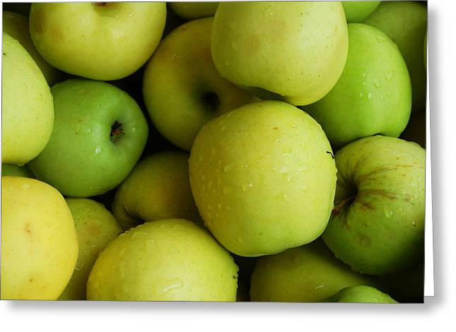Locally Grown Greeting Cards - Green Apples Greeting Card by Mamie Gunning