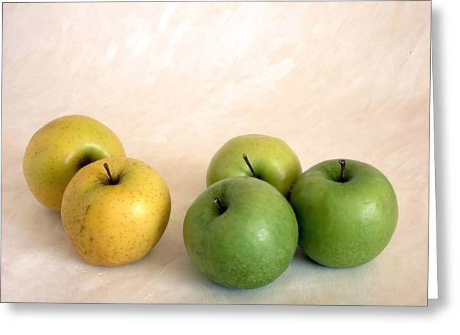Sweetly Greeting Cards - Green Apples On Painted Background Greeting Card by IB Photo