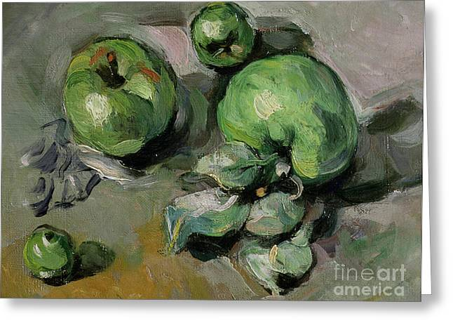 Green Apples Greeting Cards - Green Apples Greeting Card by Paul Cezanne