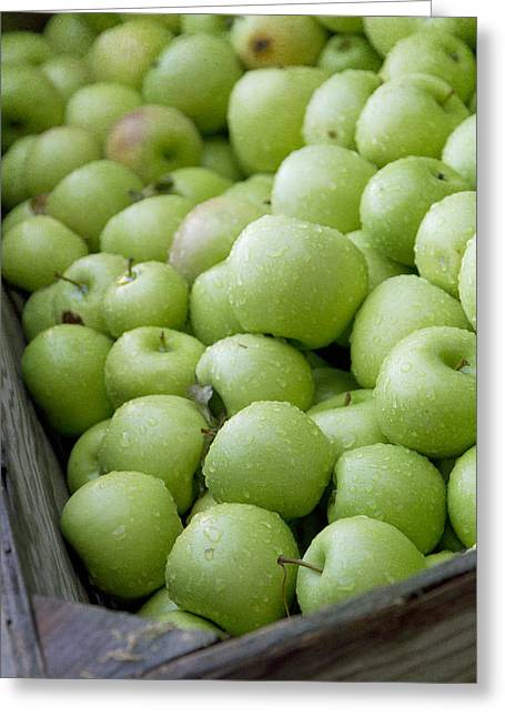 Granny Greeting Cards - Green Apples Greeting Card by Rebecca Cozart