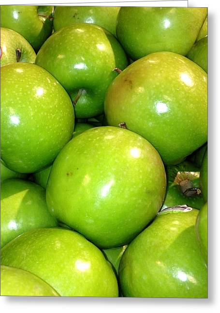 Lime Pyrography Greeting Cards - Green Apples Greeting Card by Roque Rodriguez