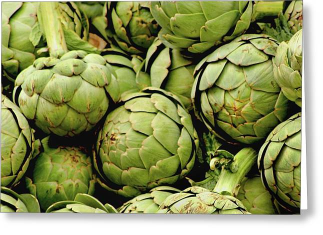 Kitchen Photos Photographs Greeting Cards - Green Artichokes Greeting Card by Art Block Collections
