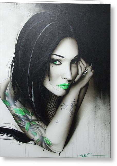 Tattoo Greeting Cards - Green Ascension Greeting Card by Christian Chapman Art
