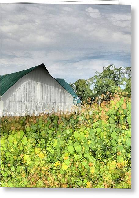 Cornfield Greeting Cards - Green Barn And Cornfield Greeting Card by Dan Sproul