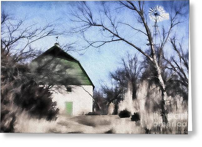 Outbuildings Digital Art Greeting Cards - Green Barn Greeting Card by Anna Surface