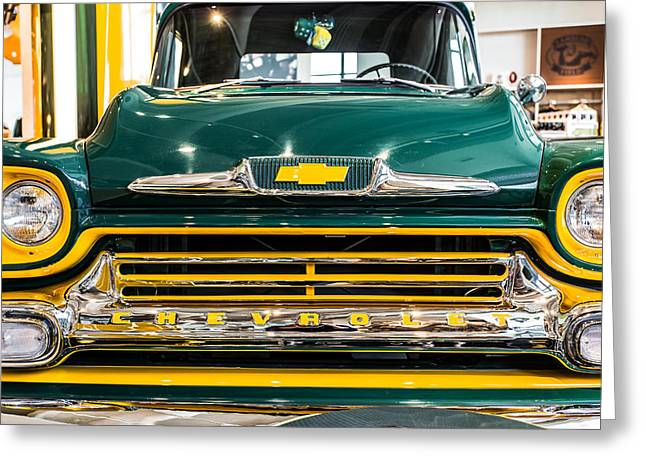 Lambeau Field Greeting Cards - Green Bay Chevy Truck Greeting Card by Lauri Novak