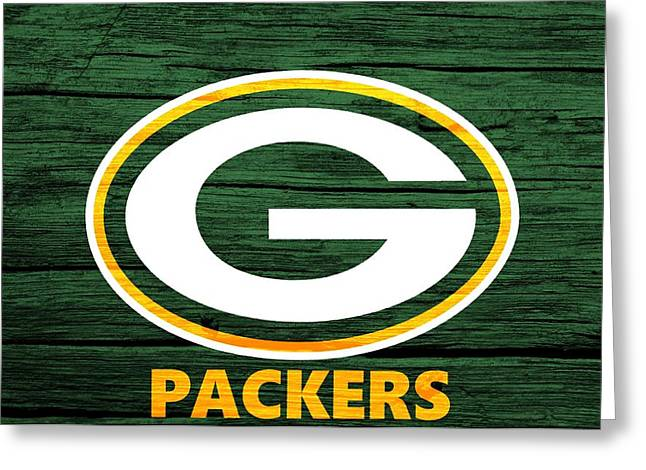 Nfl Mixed Media Greeting Cards - Green Bay Packers Barn Door Greeting Card by Dan Sproul