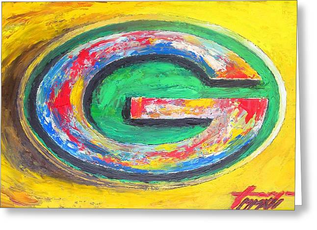 Sport Illustrations Mixed Media Greeting Cards - GREEN BAY Packers Football Greeting Card by Dan Haraga