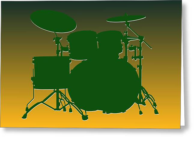 Drum Greeting Cards - Green Bay Packers Drum Set Greeting Card by Joe Hamilton