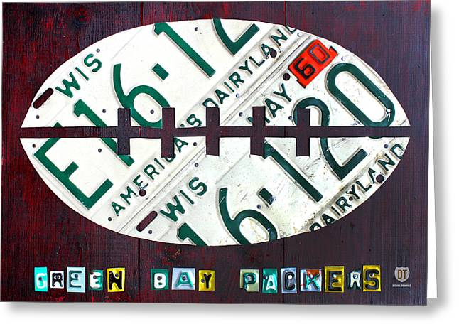 Nfl Mixed Media Greeting Cards - Green Bay Packers Football License Plate Art Greeting Card by Design Turnpike