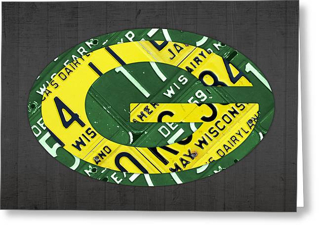 Green Mixed Media Greeting Cards - Green Bay Packers Football Team Retro Logo Wisconsin License Plate Art Greeting Card by Design Turnpike