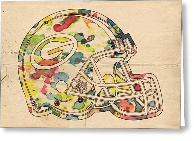 Greenbay Greeting Cards - Green Bay Packers Helmet Poster Greeting Card by Florian Rodarte