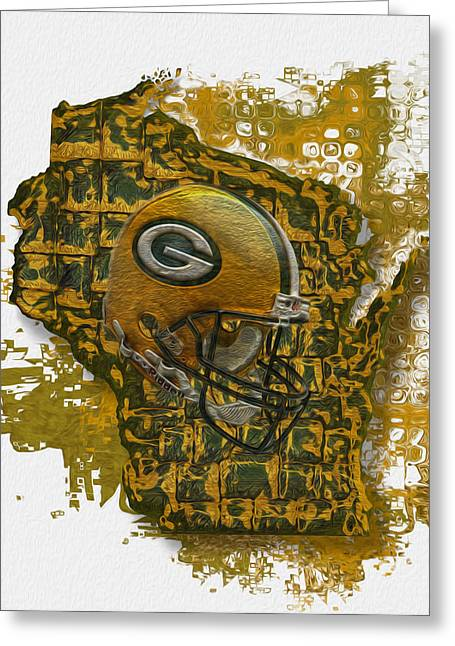 Freeze Greeting Cards - Green Bay Packers Greeting Card by Jack Zulli