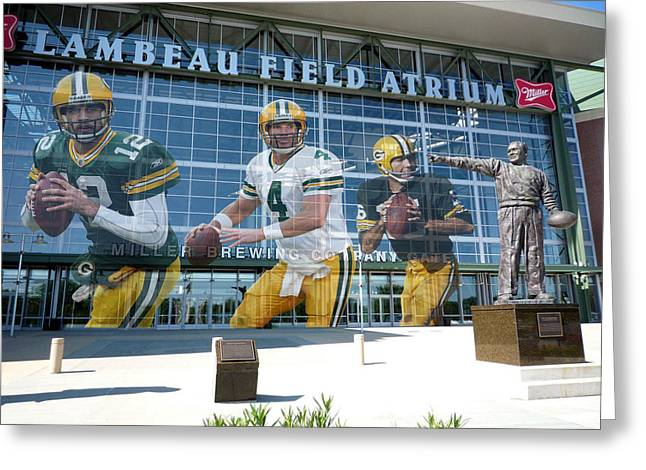 Sports Fields Greeting Cards - Green Bay Packers Lambeau Field Greeting Card by Joe Hamilton