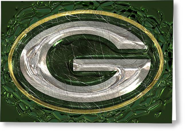 Winter Sports Art Prints Greeting Cards - Green Bay Packers Logo Greeting Card by Jack Zulli