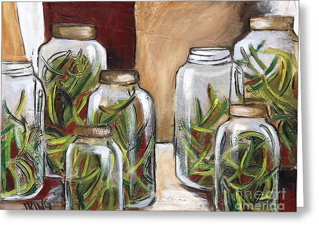 Green Beans Paintings Greeting Cards - Green Beans Greeting Card by Jenny King