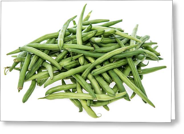 Green Beans Greeting Cards - Green Beans on white Greeting Card by Handmade Pictures
