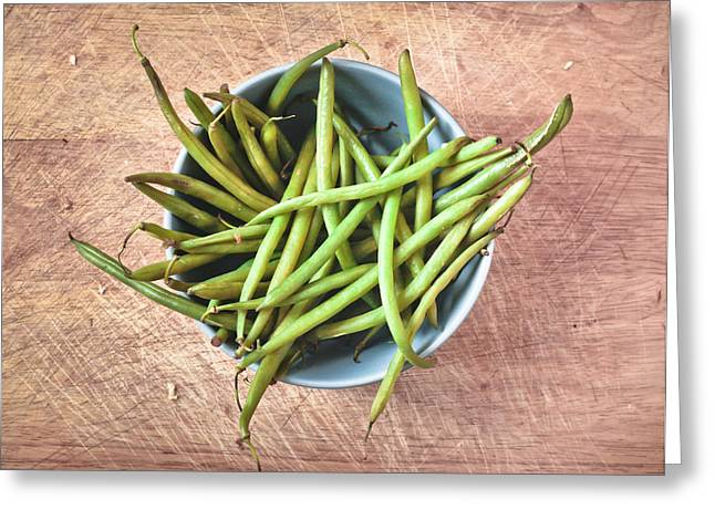 Fresh Green Greeting Cards - Green beans Greeting Card by Tom Gowanlock