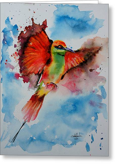 Bees Drawings Greeting Cards - Green Bee Eater Greeting Card by Isabel Salvador