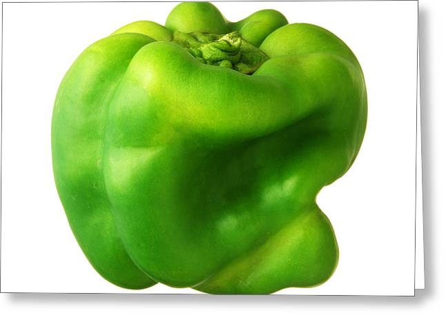 Green Bell Pepper Greeting Card by Jim Hughes