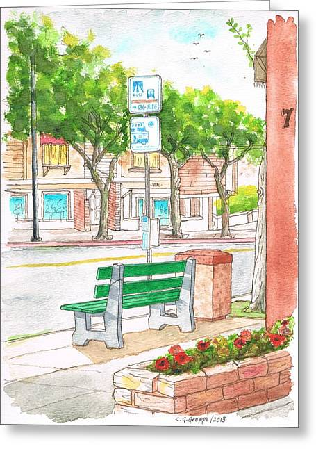 Architecrure Greeting Cards - Green bench in Laguna Beach - California Greeting Card by Carlos G Groppa