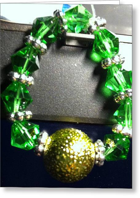 Emerald Jewelry Greeting Cards - Green Bicone Ring Greeting Card by Kimberly Johnson