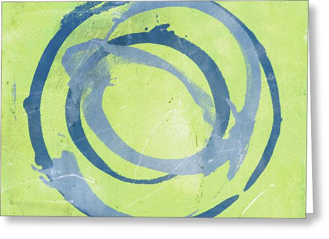 Abstract Art Print Greeting Cards - Green Blue Greeting Card by Julie Niemela