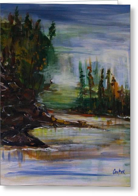 Pamela Cooper Paintings Greeting Cards - Green-Blue Marsh Greeting Card by Pamela Cooper