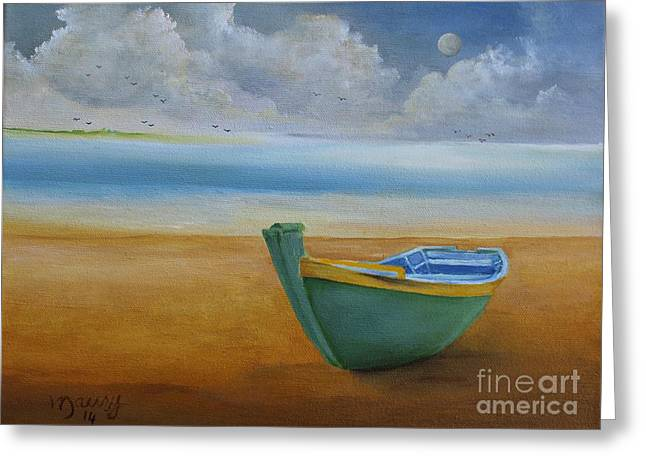 Puerto Rican Artist Greeting Cards - Green Boat Greeting Card by Alicia Maury
