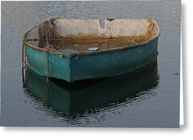 Rockport Ma Greeting Cards - Green Boat Greeting Card by Juergen Roth